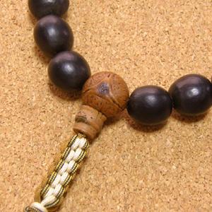 [数珠・念珠]数珠起源の実ムクロジ18珠 龍眼菩提樹 黄瑪瑙 正絹紐房八本組み