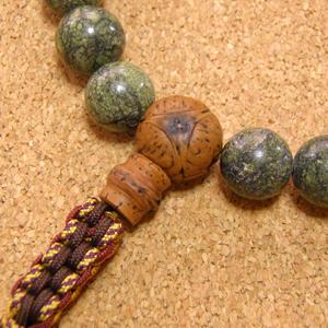 [数珠・念珠]天然石グリーンゼブラジャスパー22珠 龍眼菩提樹 星月菩提樹 正絹紐房八本組み