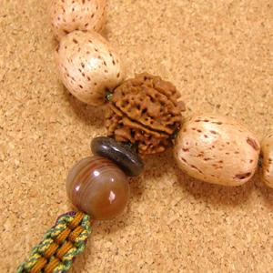 [数珠・念珠]五眼龍菩提樹(天然柿渋染め)14珠 星月菩提樹 インド菩提樹 縞瑪瑙 正絹紐房八本組み
