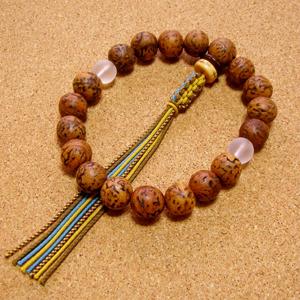 [数珠・念珠]龍眼菩提樹18珠 フロステッドクォーツ(曇水晶) 正絹紐房八本組み