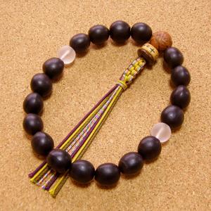 [数珠・念珠]数珠起源の実ムクロジ18珠 龍眼菩提樹 曇水晶 正絹紐房八本組み