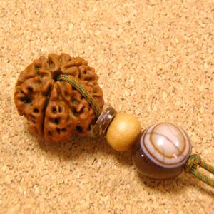 【神の眼】インド菩提樹ルドラクシャ特大23mmチョーカーネックレス-天然石アゲート(瑪瑙)仕立て