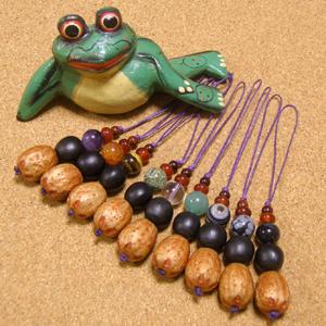 【五行:木火土金水】蝋引き紐オリジナル携帯ストラップ-五眼龍菩提樹+ムクロジの実+天然石