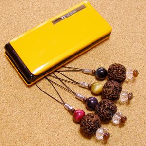【成功への道】インド菩提樹ルドラクシャ携帯ストラップ-ゴールデンタイガーアイ仕立て