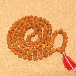 インド菩提樹ルドラクシャのプジャマーラー/数珠ネックレス/スペーサー仕立て(5面・8mm)
