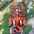 インド神様 富と知恵の象頭神ガネーシャの木彫りマスク(特大サイズ)