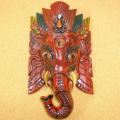 インド神様 富と知恵の象頭神ガネーシャの木彫りマスク(中)