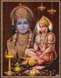 インド神様 壁掛けパネル-ラーマーヤナ・ラーマ王子と猿神の忠臣ハヌマーン