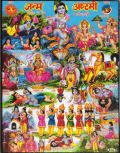 インド神様 壁掛けパネル-人々に愛されるヴィシュヌの化身クリシュナ