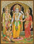 インド神様 壁掛けパネル-インド叙事詩(ラーマ王子・シーター妃・ハヌマーン)
