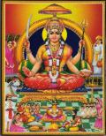 インド神様 壁掛けパネル-あらゆる幸運を与える神サントーシー