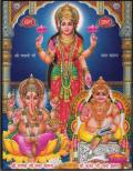 インド神様 壁掛けパネル-三神トリムルティ(ガネーシャ・サラスヴァティー・カールッティケーヤ)