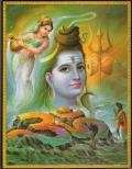 インド神様 壁掛けパネル-破壊と畏怖・恩恵の至高神シヴァ&ガンジス川の化身ガンガー