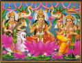 インド神様 壁掛けパネル-富の三神ラクシュミー&サラスヴァティー&ガネーシャ