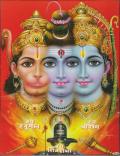 インド神様 壁掛けパネル-至高神シヴァ&最高神ヴィシュヌ&忠臣ハヌマーン
