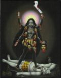 インド神様 壁掛けパネル-血みどろの暗黒女神カーリー