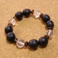 【四法印】数珠起源の実ムクロジ四法印ブレスレット-クリスタル水晶バージョン