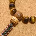 [数珠・念珠]虎眼石タイガーアイ22珠 龍眼菩提樹 正絹紐房八本組み