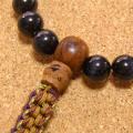 [数珠・念珠]青虎眼石ブルータイガーアイ27珠 鳳眼菩提樹 正絹紐房八本組み
