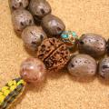[数珠・ネックレス]五眼龍菩提樹36果 インド菩提樹ルドラクシャ 鳳眼菩提樹 虎眼石 瑪瑙 チベット真鍮ビーズ 正絹紐房八本組み