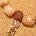 [数珠・念珠]五眼龍菩提樹(天然柿渋染め)14珠 鳳眼菩提樹 ムクロジ クリスタル水晶 正絹紐房八本組み