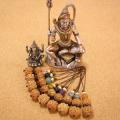 【吉祥の神シヴァの恩恵】蝋引き紐オリジナル携帯ストラップ-インド菩提樹ルドラクシャ+天然石のコラボ