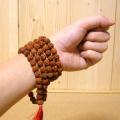 インド菩提樹ルドラクシャのプジャマーラー/数珠ネックレス/スペーサー仕立て(5面・10mm)