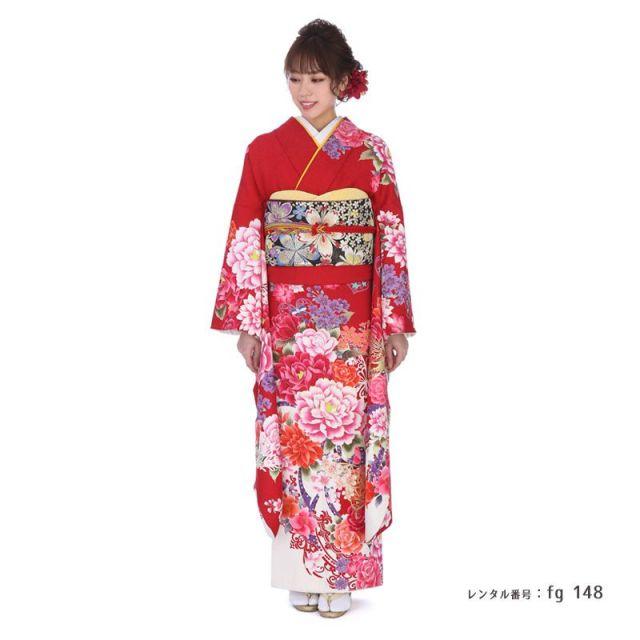 【結婚式・結納等用】振袖レンタル(fg_148)MI-5 赤 蝶