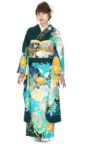 【結婚式・結納等用】振袖レンタル(fg_159)J-106 グリーン