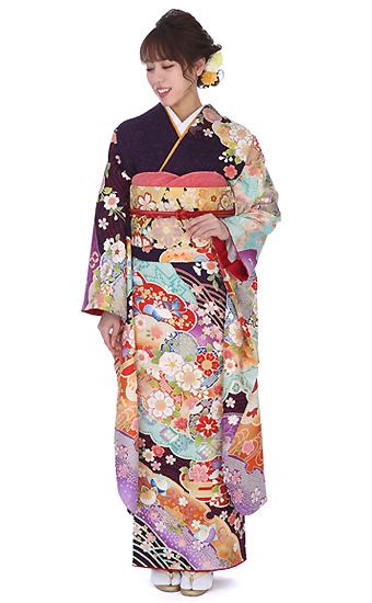 【結婚式・結納等用】振袖レンタル(fg_188)J-115 紫 絞り 小花