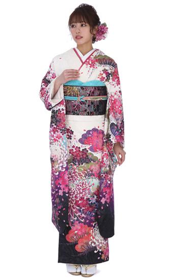 【結婚式・結納等用】振袖レンタル(fg_198)MERCURY DUO 白地 松 桜 菊 (MD28)