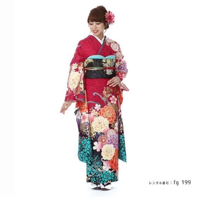 【成人式用】振袖レンタル(fg_199)MERCURY DUO チェリーピンク ムラサキ バラ 菊
