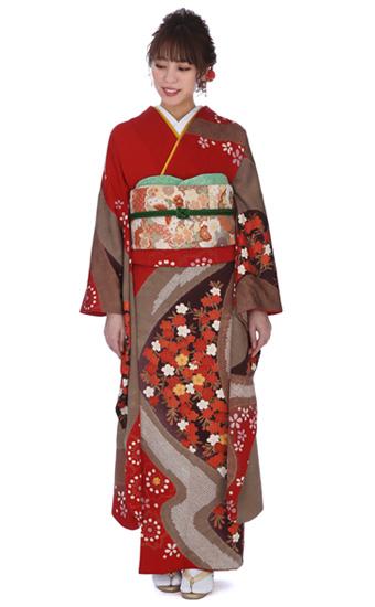 【成人式用】振袖レンタル(fg_237)MI-48 赤×ブラウン 桜