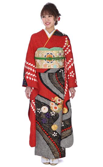 【成人式用】振袖レンタル(fg_244)MI-47 赤地に絞り柄と刺繍
