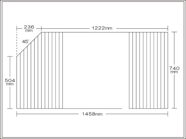 変形巻きふた 左上45度カット 740mm×1458mm