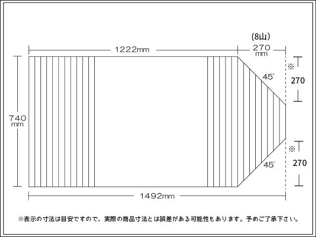 変形巻きふた 右上下45度カット 740mm×1492mm