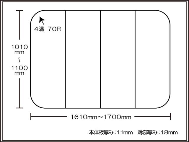 【日本製】寮や民宿などの大型浴槽のお風呂のふた ビックセーション1010~1100×1610~1700mm 4枚割