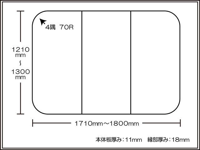 【日本製】寮や民宿などの大型浴槽のお風呂のふた ビックセーション1210~1300×1710~1800mm 3枚割