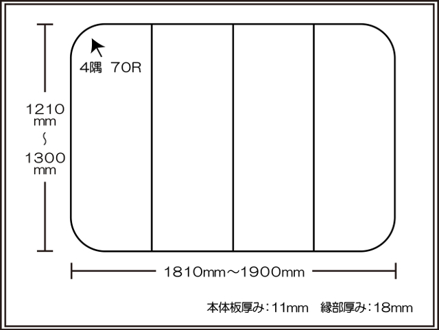 【日本製】寮や民宿などの大型浴槽のお風呂のふた ビックセーション1210~1300×1810~1900mm 4枚割