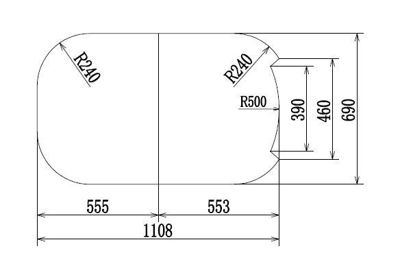 変形組み合わせ風呂ふた 690mm×1108mm 2枚割