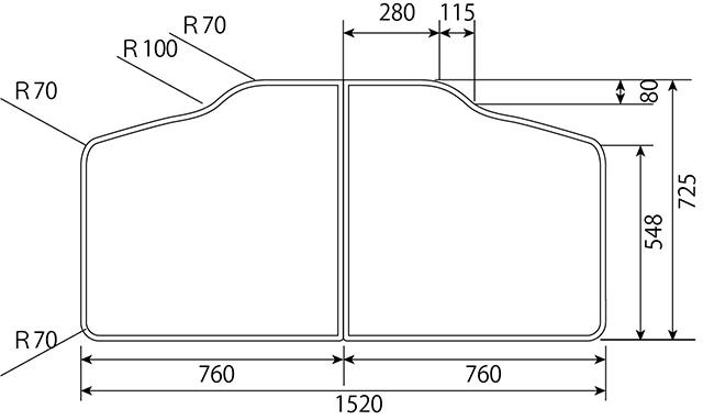 変形組み合わせ風呂ふた 725mm×1520mm 2枚割