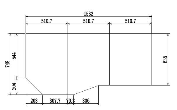 変形組合せ風呂ふた 748mm×1532mm 3枚割