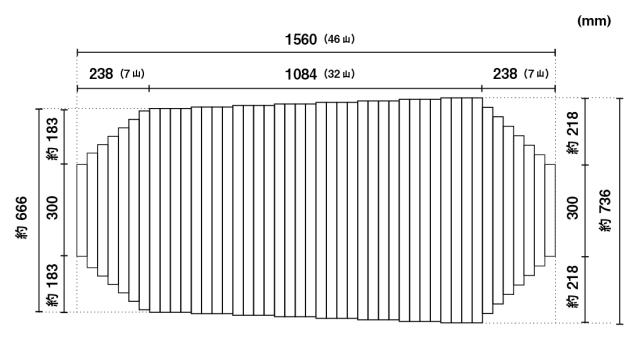 【送料無料】くるくる巻きふた オーダーシャッターふた約736x1560mm(46山) 段カット変形