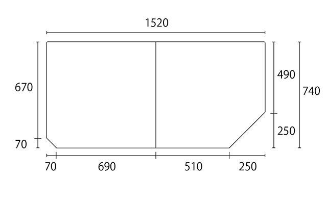 変形組合せ風呂ふた 740mm×1520mm 2枚割