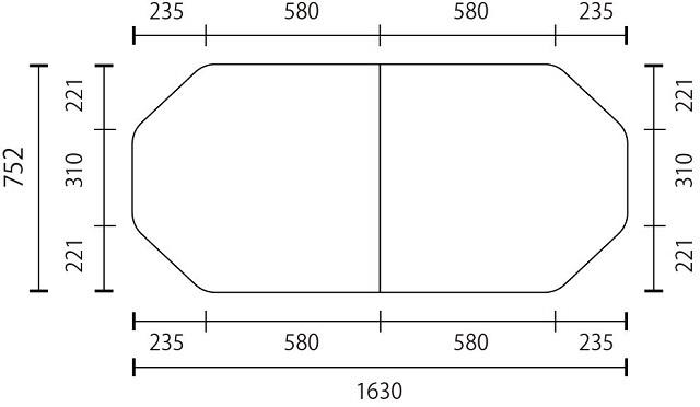 変形組合せ風呂ふた 752mm×1630mm 3枚割  (4隅221mm×235mm斜カット有 )