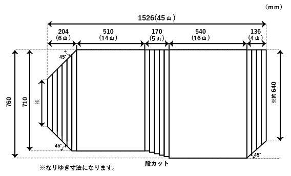 【送料無料】くるくる巻ける巻きふた オーダーシャッターふた760x1526mm 変形 45度斜、段カット有