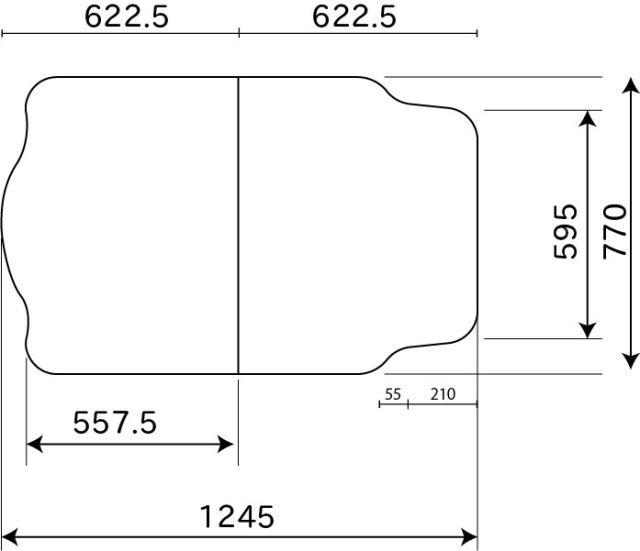 変形組合せ風呂ふた 770mm×1245mm 2枚割