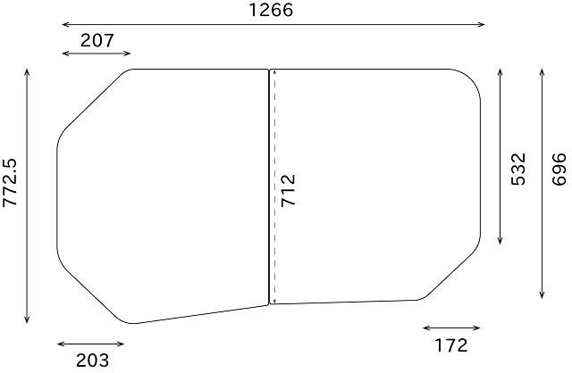 変形組合せ風呂ふた 772mm×1266mm 2枚割