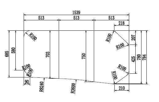 変形組合せ風呂ふた 780mm×1539mm 3枚割