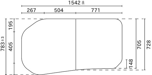 変形組合せ風呂ふた 783mm×1542mm 2枚割(左大きい板)